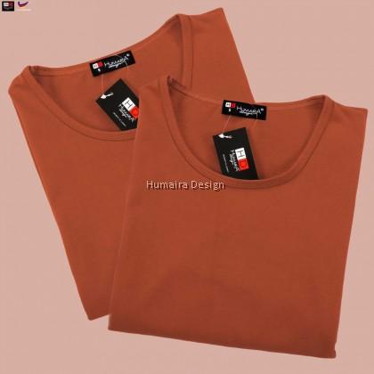 Tshirt Muslimah Humaira Basic Plain 3.0 -  Burnt Orange (HB32)