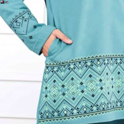 Tshirt Muslimah Humaira Ermina (Powder Blue With Dark Turqoise) - HD317
